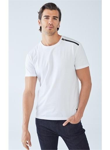 Boris Becker Fermuar Detaylı T-shirt Beyaz